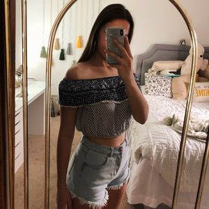 blue and white sinched crop top